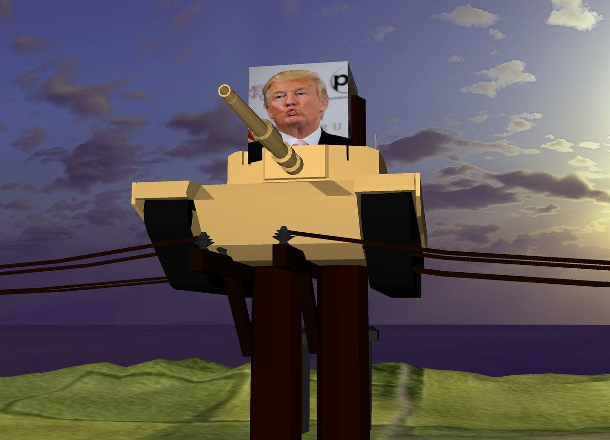 Input text: the large [trump] cube is 6 inches in the tank. the tank is 4 feet in the poles. the grass mountain range.