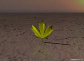 The small yellow leaf.  The ground has a dirt texture. the ambient light is black.