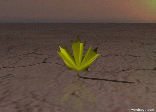 Input text: The small yellow leaf.  The ground has a dirt texture. the ambient light is black.