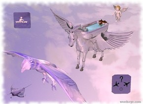There is a shiny gray pegasus 50 feet above the shiny gray ground.  The shiny gray bathtub is -2.5 feet above the pegasus. It is -5.8 feet behind the pegasus. It is 4 feet long.  The water rectangle is 0.3 feet in the bathtub. It is 1.6 feet wide. It is 3.2 feet deep. It is -3.6 feet behind the bathtub.   The camera light is light pink.  The white cherub is 2 feet behind the bathtub. It is -1 foot above the bathtub. It is leaning forward.  The giant shiny [sky] eagle is 0.6 feet in front of the pegasus. It is -6 feet above the pegasus. The eagle is leaning forward.  The shiny dark lavender sign panel is -2 feet right of the pegasus. It is 0 feet below the pegasus. It is facing southeast. It is leaning back.  The shiny dark blue sign panel is 8 feet left of the pegasus. It is -5 feet above the pegasus. It is facing southeast. It is leaning back. It is 2.5 feet tall.  The small translucent lavender fish is -1 feet in front of the eagle. It is -3.5 feet above the eagle.
