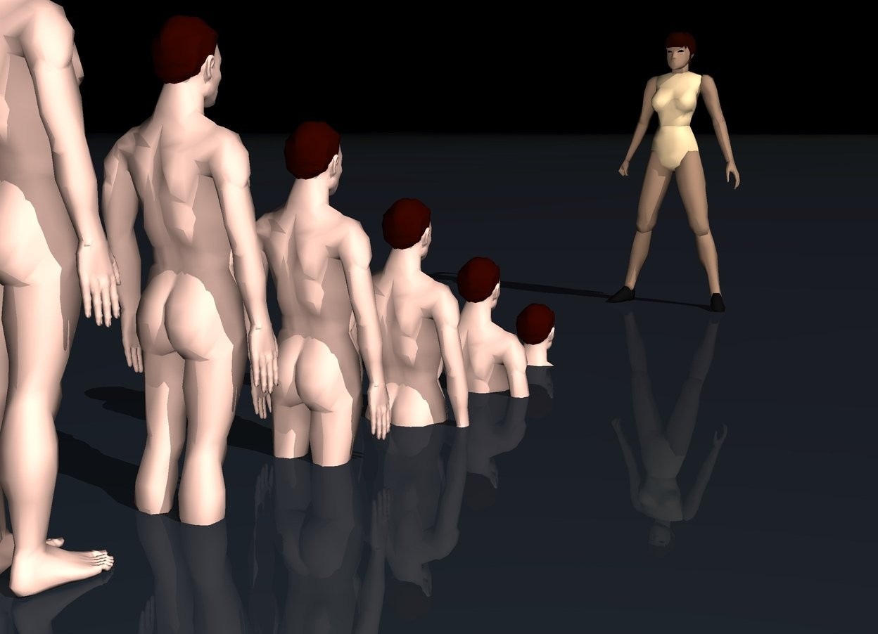 Input text: The sky is black.  The ground is black water. There is a tan woman facing backward.  A first man 6 feet behind the woman.  The first man is 5 feet in the ground.  There is a second man 1 foot behind the first man.  The second man is 4 feet in the ground.  There is a third man 1 foot behind the second man.  The third man is 3 feet in the ground. There is a fourth man 1 foot behind the third man.  The fourth man is 2 feet in the ground. There is a fifth man 1 foot behind the fourth man.  The fifth man is 1 foot in the ground. There is a sixth man 1 foot behind the fifth man.  The sixth man is on the ground.