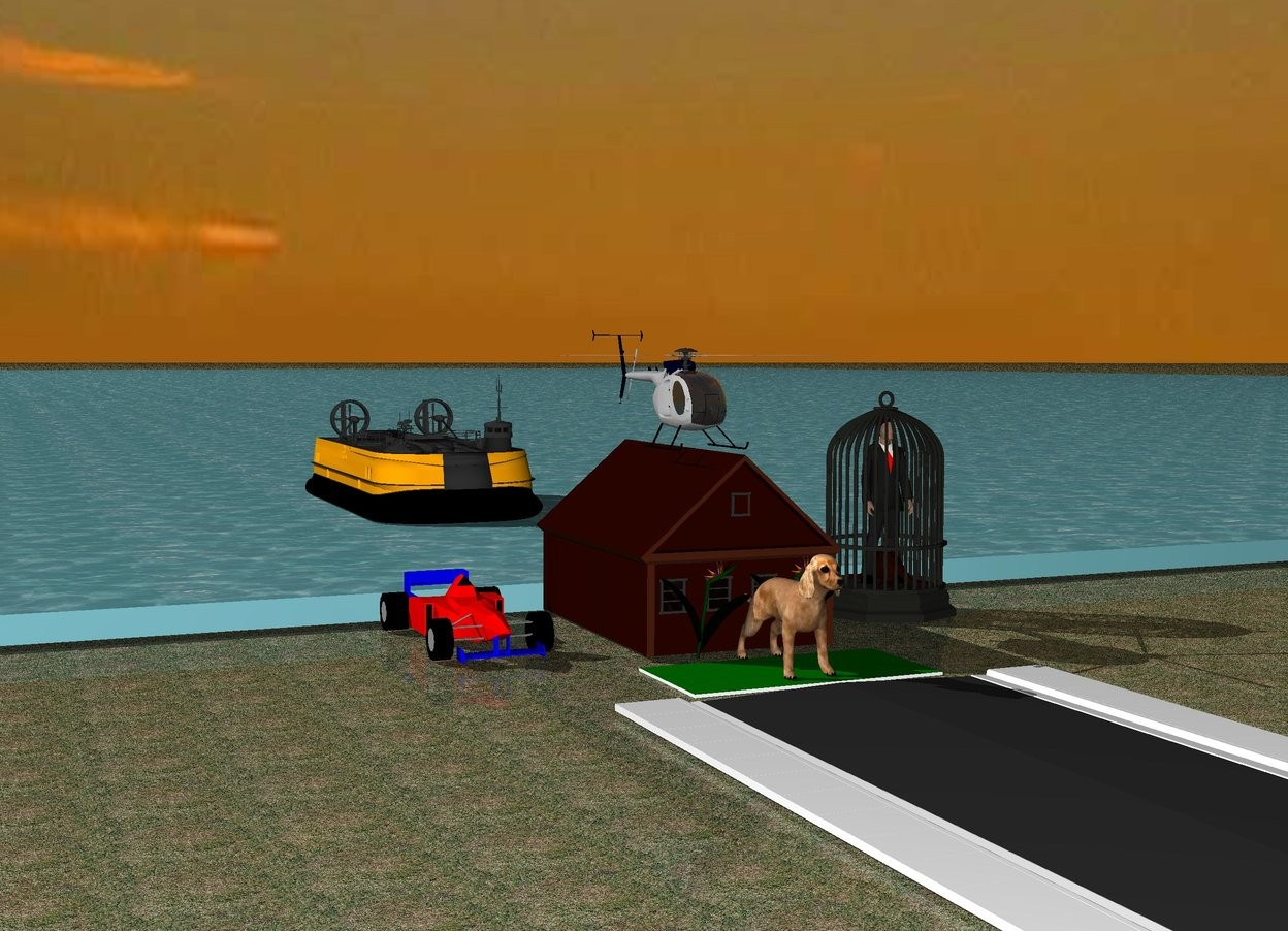Input text: The large dog is on a green carpet.  The small house is behind the dog. The flowers are in front of the house. The sky is cloudy. The ground is grass. The grass is blue. The small Ferrari is 2 feet left of the house. The Ferrari is red. The small helicopter is on the house. The sea is behind the house. The road is in front of the dog. The hovercraft is on the sea. The hovercraft is 20 feet behind the house. The hovercraft is orange. The very big cage is 2 feet right of the house. The human is in the cage.