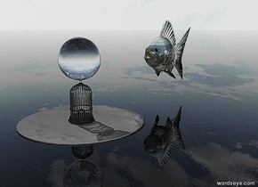 The ground is clear.   The 10 foot tall dark cage is on the small island.  A 10 foot tall clear sphere is above the cage. A 20 foot tall city goldfish is 20 feet behind the sphere.
