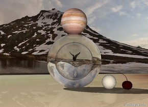 The ground is mirror. The first clear sphere is on the ground. It is 20 feet tall. The second clear sphere is 10 feet tall. It is 15 feet in the first sphere. A duck is 5 feet in the second sphere. Jupiter is above the first sphere. A 5 foot tall golf ball is to the right of the first sphere. A gigantic dark cherry is right of the golf ball.