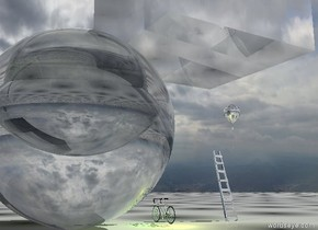 the first clear sphere is 20 feet wide. the second clear sphere is 15 feet wide. it is 20 feet inside the first sphere. the third clear sphere is 10 feet wide. it is 7 feet inside the second sphere. the huge white illuminator is in the sphere.  the 20 feet wide clear cube is to the left of the sphere. the silver bicycle is next to the first sphere. the big silver balloon is 9 feet to the left of the bicycle. it is 9 feet above the ground. the silver ladder is under the balloon. the white illuminator is under the cube. the yellow illuminator is next to the first sphere. the green illuminator is next to the second sphere. the ground is 20 feet wide pattern.