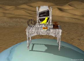 Giant uranus is on the desert. The table is on Uranus. The table has a granite texture.   The glass bowl is on the table.Two oranges are in the bowl.   The scale is 7 inches to the right and 1 inch behind the bowl. The scale is facing right. A yellow bird is on the scale.  The clock is 10 inches to the left and 8 inches behind the bowl.