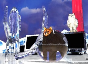 The mountain background. The ground is white.  The dog is 1.8 feet in the big transparent sphere. The transparent white cactus is next to the dog. The cactus is 3 feet in the ground.  The small shiny rocketship is 20 feet behind the dog. There is a big monitor 10 feet north of the dog. It is 5 feet west of the dog. to the west of the monitor is a clear monitor. To the west of the monitor is a clear monitor. There is a big clear monitor 10 feet north of the dog. The big shiny bird is on the monitor. To the east of the monitor is a monitor. There is a pink light 1 foot in front of the dog. There is an illuminator above the sphere. There is a light below the sphere.