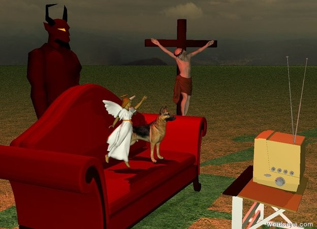 Input text: The small dog is on the couch. The couch is maroon. The ground is grass. It is dawn. The devil is behind the couch. The devil is 6 feet tall. A small desk is two feet in front of the couch. A television is on the desk. The television is facing the couch. An angel is on the couch to the left of the dog. The angel is 2 feet tall. A crucifix is to the right of the couch. It is 6 feet tall. The crucifix is facing the television. A red light is 1 foot above the devil.