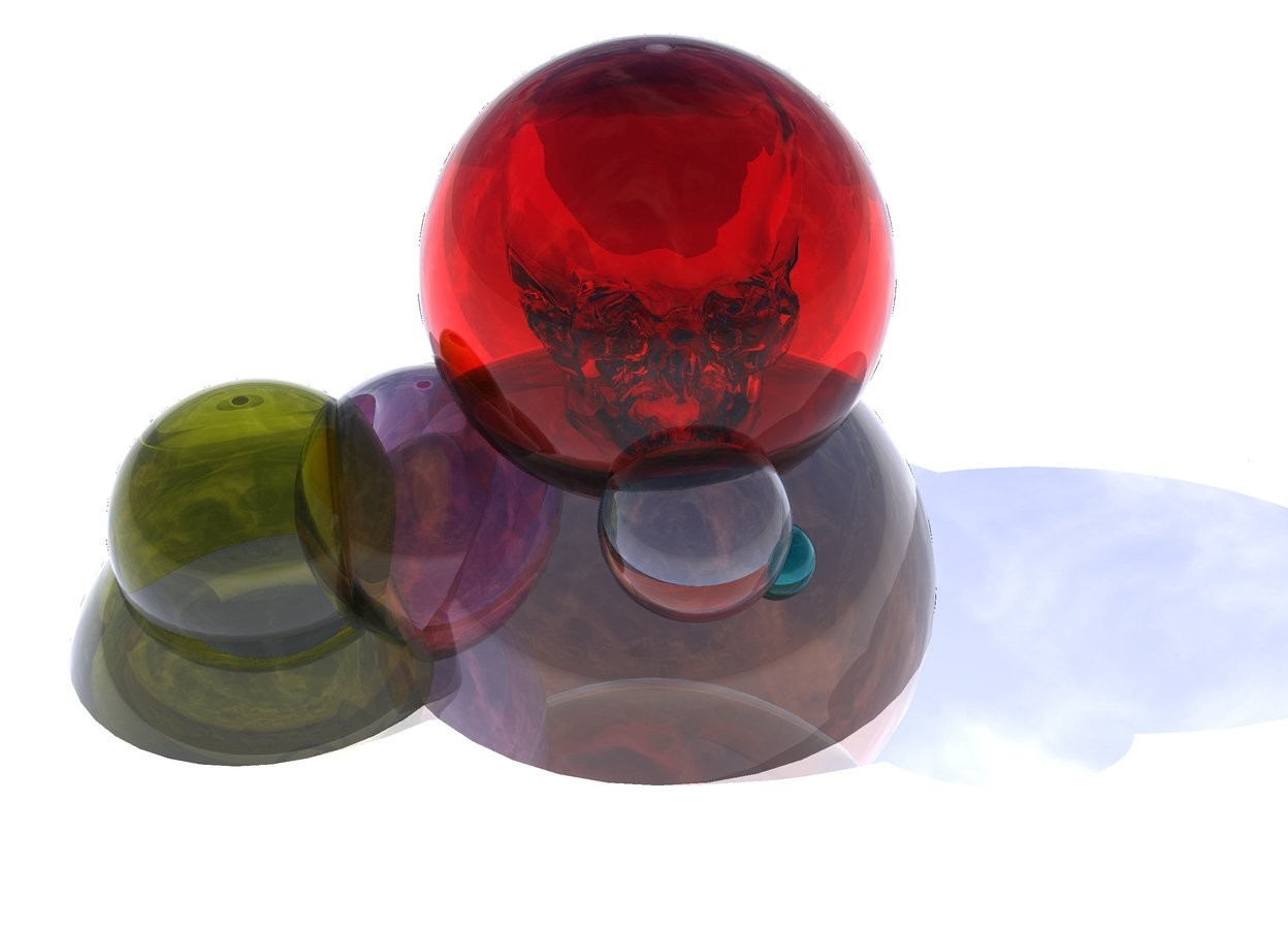 Input text: the ground is shiny white. there is a 2 feet tall clear copper sphere 1 feet in the ground. there is a 1.5 feet tall clear red sphere 6 inches in the copper sphere. there is a 7 inches tall clear sphere -4 inches in front of the clear red sphere. there is a 3 inches tall clear cyan sphere -2 inches right of the clear sphere. there is a 1.5 feet tall clear marmalade sphere -5 inches left of the copper sphere. there is a 1 feet tall clear olive sphere 7 inches in the marmalade sphere. there is a 1 feet tall clear hot pink sphere -5 inches right of the olive sphere. there is a clear skull 1.2 feet in the red sphere.