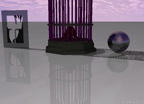 The camel fits in the shiny purple bird cage. The bird cage fits in the shiny black window. The giant purple bird cage is 2 feet to the right of the window. The big shiny silver sphere is 1 foot to the right of the giant bird cage.