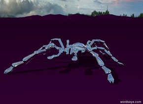 The silver spider is on the purple ground.