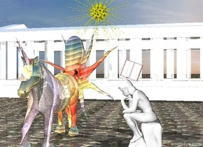 The ground is camouflage. The huge shiny rainbow octopus is facing down. There is a shiny rainbow unicorn in front of the octopus.  There is a small white shiny parthenon 20 feet behind the octopus. There is a star above and to the right of the unicorn. There is a statue 3 feet to the east of the unicorn. It is facing the unicorn. There is a book on the statue. It is leaning left. It is facing south.