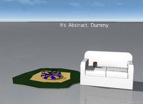 The dock is next to the hub. The rag is on the hub. the jar is next to the rag. [It's Abstract, Dummy] is 2 feet above the hub. [It's Abstract, Dummy] is -2 feet west of the hub. [It's Abstract, Dummy] is 4 feet wide.