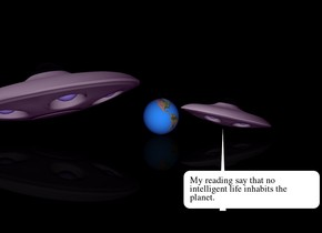 There is a big planet. The ground is black. The sky is black. The ambient light is purple. There is a small  ufo to the right of the planet. It is leaning 12 degrees to the left. there is a ufo to the left of the planet. It is leaning 12 degrees to the right.
