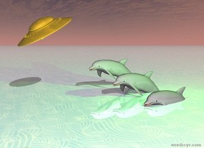 the first dull gray dolphin is three feet in the ground. the second dull gray dolphin is one foot to the left of the first dull gray dolphin. the second dull gray dolphin is two feet in the ground. the third dull gray dolphin is one feet to the left of the second dull gray dolphin. the third dull gray dolphin is one foot in the ground.. the ground is shiny. the ground is water. it is morning. the green light is 2 feet above the first dull gray dolphin. there is a tiny dull gold ufo 2 feet in front of the third dull gray dolphin. it is 1 foot above the dolphin.the tiny dull gold ufo is leaning 30 degrees to the right. the tiny dull gold ufo is facing east.