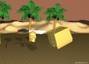 the ground is sand. the sky is pink. there is a 2 foot tall shiny knife. the shiny knife is 1 foot in the giant skull. the giant skull is 10 feet above the ground. there are three 15 foot tall palm trees several feet behind the giant skull. the shiny knife is facing right. there is a giant tv 10 feet to the left of the giant skull. the giant tv is facing the skull. the giant tv is leaning 20 degrees to the left.  the skull is facing west. it is dusk.