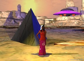 the princess is in the valley.  the 10 foot tall stone tetrahedron is 5 feet behind her.  a yellow light is 1 foot above her.  a cyan light is a foot above the pyramid.  a shiny ufo is 40 feet behind her. it is 20 feet right of her. it is 10 feet above the valley. a blue light is a foot under the ufo.