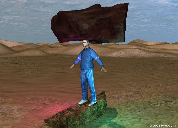Input text: the big rock is in the desert. The athlete is 6 inches in the rock. the second big rock is 6 inches in the athlete.  The magenta light is left of the athlete. the cyan light is right of the athlete.