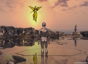 There is a clear valley.  The silver man is 40 feet tall.  He is 5 feet in the ground.  The translucent yellow angel is 70 feet tall.  It is 300 feet in front of the man.  It is 60 feet above the ground.  It is facing the man.  It is 5 feet left of the man. It leans forward.