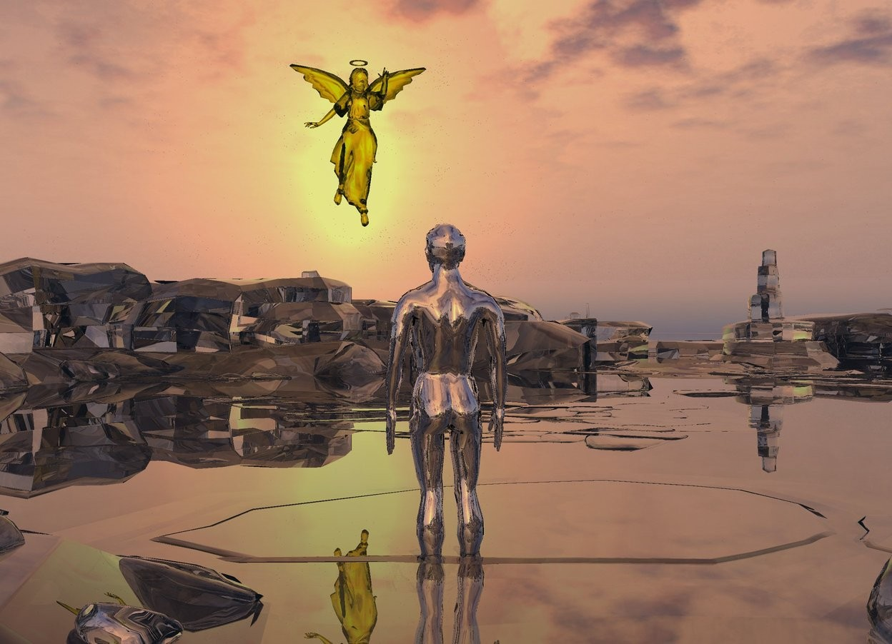 Input text: There is a clear valley.  The silver man is 40 feet tall.  He is 5 feet in the ground.  The translucent yellow angel is 70 feet tall.  It is 300 feet in front of the man.  It is 60 feet above the ground.  It is facing the man.  It is 5 feet left of the man. It leans forward.