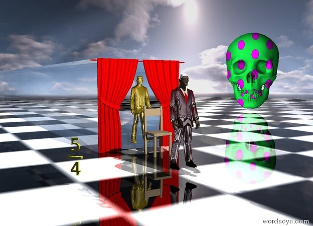 "Input text: The ground is shiny checkerboard.  The tan chair is 50 feet in front of the red curtain.  The red curtain is 200 feet tall.  The chair is 100 feet tall. The clear cube is behind the red curtain. It is 200 feet tall. It is 1500 feet deep. It is 200 feet wide.  The shiny dark red man is 140 feet in front of the chair.  He is 10 feet west of the chair. He is 150 feet tall.  He is 14 feet above the ground.  His hair is shiny white. His lip is shiny black.   ""4"" is 20 feet tall.  It is 130 feet west of the man.  It is 20 feet north of the man.  It faces southwest. It is yellow.  ""_"" is 10 feet tall.  It is 5 feet above ""4"".  It faces southwest. It is yellow.  ""5"" is 20 feet tall. It is above ""_"".  It faces southwest. It is yellow.  The gold man is 150 feet tall.  He is -15 feet in front of the cube. His arm is gold. He is 14 feet above the ground.  The skull is 400 feet tall.  It is 800 feet north of the shiny dark red man.  It is 900 feet east of the shiny dark red man. It faces southwest.  It is [pattern].  The camera light is black.  The white light is 25 feet above the shiny dark red man. It is 25 feet in front of him."