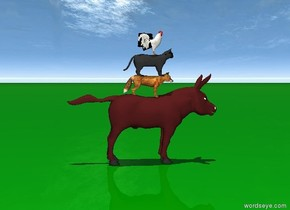The brown donkey is on the ground which is green. A red fox stands on top of the donkey. A cat stands two inches in the red fox. A cock stands on top of the cat. It is noon.