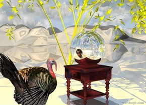 the  large silver bowling ball is on the table. the ground is shiny. a large orange illuminator is 4 feet above the ball. The table is under the very small yellow willow tree. The turkey is one foot in front of the table. the turkey is facing the ball. the tree is on the very tall  mountain range.