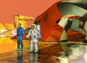 the astronaut is in the shiny mondrian valley. the athlete is next to the astronaut. the large malevich cave is 20 feet behind the astronaut. the coral sky.