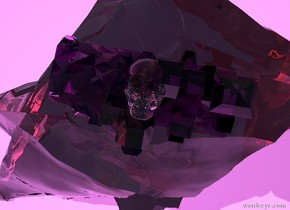 the ground is unreflective violet. there is a large clear rock 6 inches in the ground. there is a large clear pink rock 17 inches in the clear rock. there is a 2 feet tall clear purple crystal 12 inches in the large clear pink rock. there is a clear skull 2 inches in the purple crystal. it faces up.