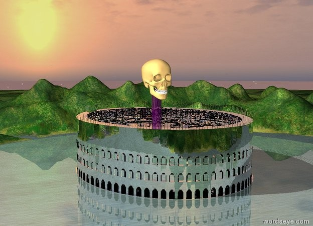 Input text: the athlete is in the silver arena. the  80 foot tall shiny purple cylinder is in the arena.  it is 10 feet wide. the very humongous skull is 10 feet in the cylinder.
