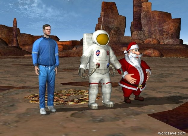 Input text: the santa. the astronaut. the athlete.