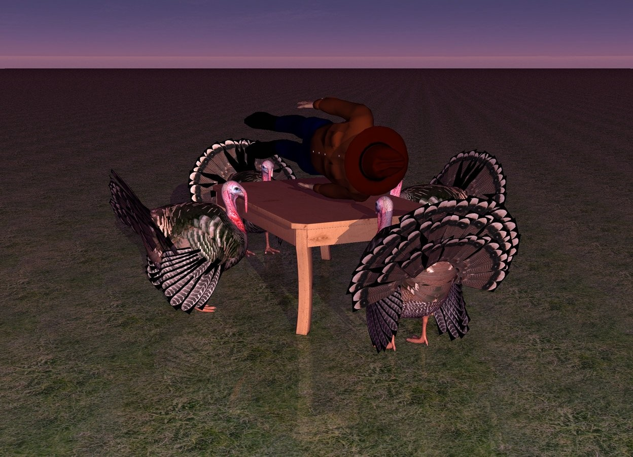 Input text: There is a table. It is 2 feet tall.  There is a turkey in front of the table. It is facing the table. there is a turkey behind the table. It is facing the table. There is a turkey to the right of the table. it is facing the table.  There is a turkey to the left of the table. It is facing the table.   There is a human on the table. He is leaning 90 degrees to the left.   The ground is grass. The ambient light is purple. It is dawn.