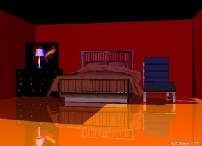 There is a bed. There is a dresser next to the bed. There is a maroon wall behind the bed.There is a maroon wall 5 feet  to the right of the bed. It is facing the bed. There is a maroon wall to the left of the dresser. It is facing the dresser. the ground is shiny orange. There is a white lamp -2.6 feet above the dresser. There is a chair to the right of the bed. The sky is black. The ambient light is purple. There is a blue light above the bed. There is a blue light above the chair.
