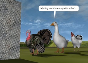 the turkey is a foot in front of the huge duck. the large chicken is a foot behind the duck. the huge [metal] cube is 2 feet in front of the turkey. the ground is grass.