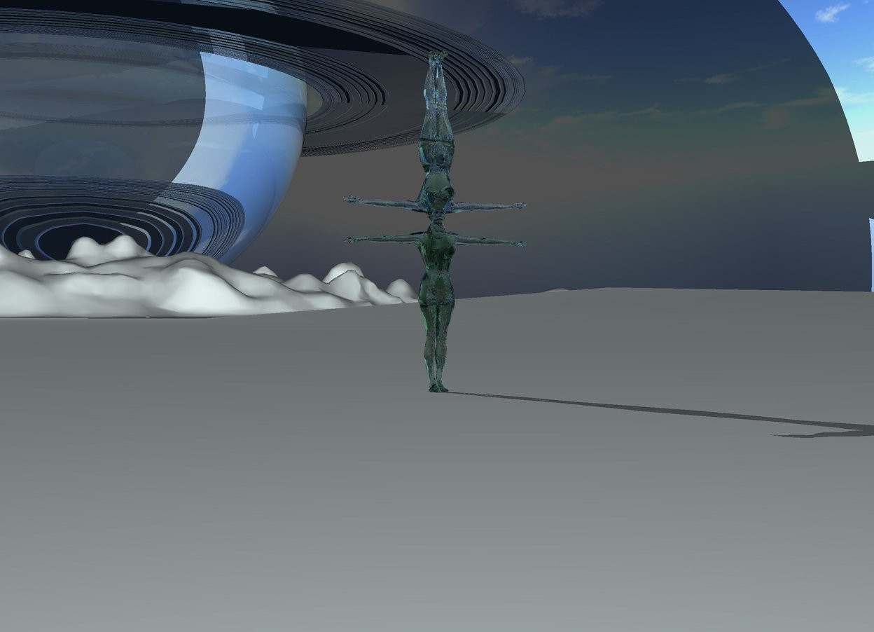 Input text: there is a clear malachite green woman. there is a clear thyme green woman -16 inches above the malachite green woman. she is upside down. the ground is clear azure. there is a 1000 feet tall clear sphere 2000 feet behind the clear thyme green woman. there is a 2000 feet tall clear azure flat torus 500 feet in the clear sphere. it faces up