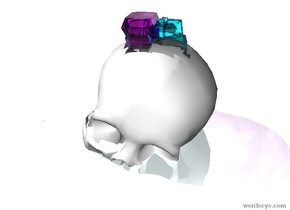 the ground is shiny azure. there is a white skull 5 inches in the ground. it leans west. there is a 4 inches tall clear purple crystal 1 inches in the skull. there is a 4 inches tall clear aqua crystal -2 inches right of the clear purple crystal.