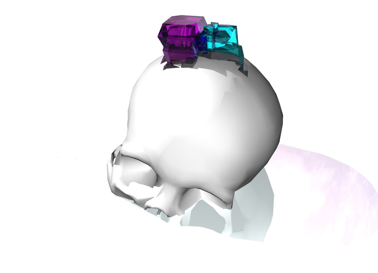 Input text: the ground is shiny azure. there is a white skull 5 inches in the ground. it leans west. there is a 4 inches tall clear purple crystal 1 inches in the skull. there is a 4 inches tall clear aqua crystal -2 inches right of the clear purple crystal.