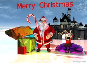 "the large transparent cyan rock is on the huge shiny white ground.   the first large gift box is in front of the rock.  A gift box is in front of the first box.  the 4 foot tall candy cane is above and right of the box. it is facing left. it is leaning forward.   the santa is right of the first box.  the transparent magenta  rock is  right of the santa.   the orange transparent rock is 2 feet behind and left of the candy cane.  it is leaning right. the 12 foot tall transparent castle is 20 feet behind the magenta rock.   a yellow light is in front of santa.  the small  red  ""Merry Christmas"" is a foot above the santa.  the elf is in the magenta rock. a red light is above the elf."