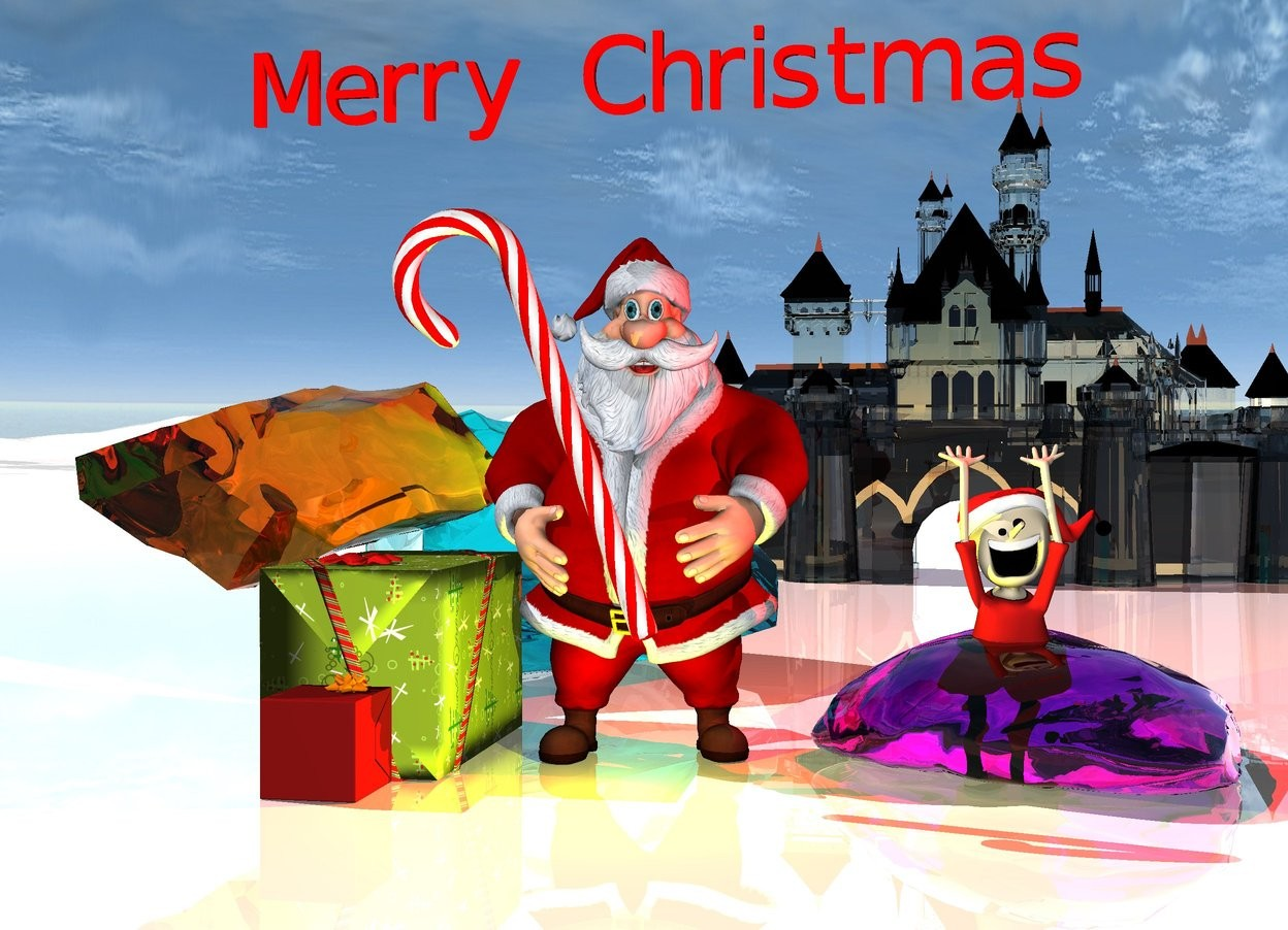 "Input text: the large transparent cyan rock is on the huge shiny white ground.   the first large gift box is in front of the rock.  A gift box is in front of the first box.  the 4 foot tall candy cane is above and right of the box. it is facing left. it is leaning forward.   the santa is right of the first box.  the transparent magenta  rock is  right of the santa.   the orange transparent rock is 2 feet behind and left of the candy cane.  it is leaning right. the 12 foot tall transparent castle is 20 feet behind the magenta rock.   a yellow light is in front of santa.  the small  red  ""Merry Christmas"" is a foot above the santa.  the elf is in the magenta rock. a red light is above the elf."