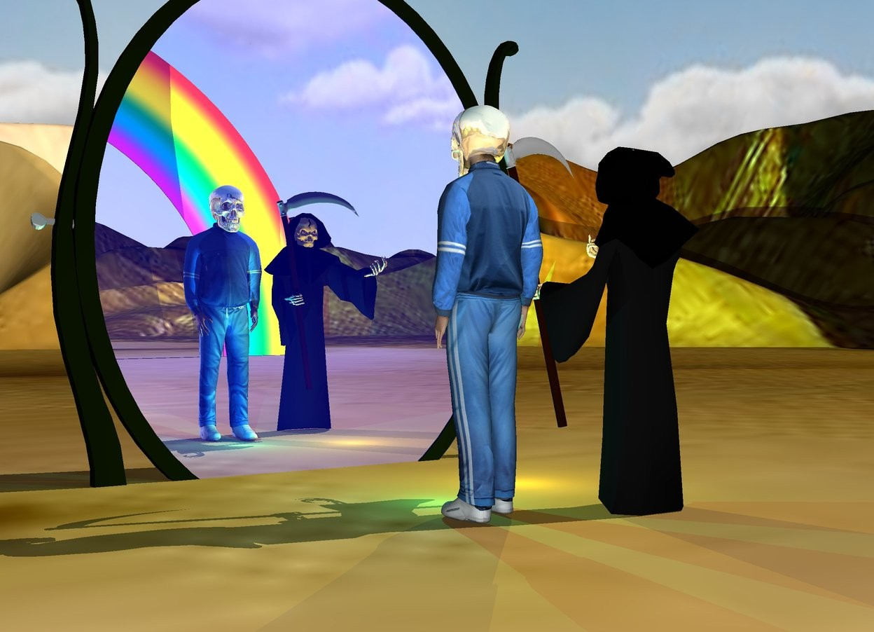 Input text: the  shiny tan skull is 12 inches in the athlete. it is 14 inches tall.  the small rainbow is 50 feet behind the athlete.  the grim reaper is next to the athlete.  the tall [da vinci]  desert.  the 15 foot tall  mirror is 3 feet in front of the athlete. it is facing the athlete. it is 5 feet in the ground. the pane of the mirror is dark blue.  the yellow light is in front of the grim reaper. the cyan light is in front of the athlete.