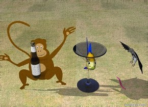 There is a giant martini glass.  A giant goldfish is in the glass facing left.   The ground is grass. A monkey. A big bottle is in front of the monkey. The bottle is 12 inches above the ground.  A giant worm is on the ground. An eagle is 15 inches above the ground. The eagle is facing the worm. THe worm is 1 foot to the right of the martini glass.  the monkey is on the left of the glass.