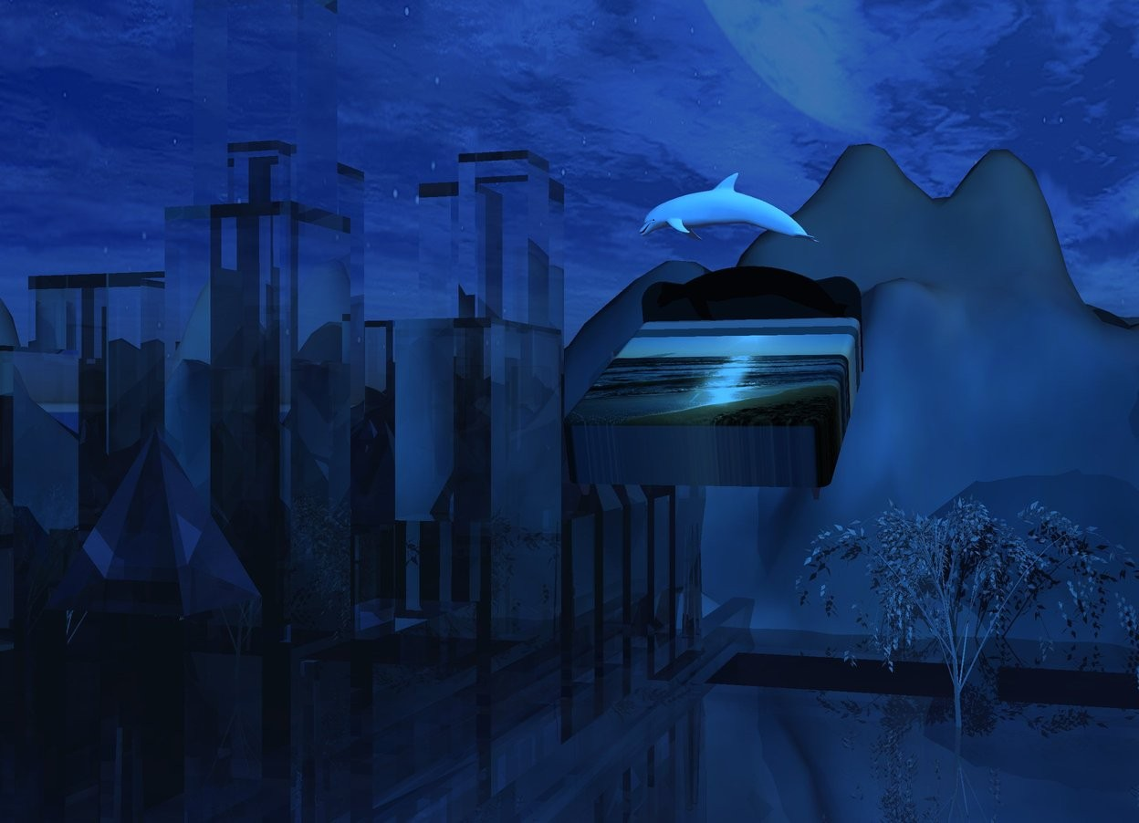 Input text: The camera light is black.   The ambient light is night blue. The sun is fjord blue.  The translucent white city block is 35 feet in the [fog] ground. It faces west. It is 900 feet long. It is 200 feet tall.  The ground is 200 feet tall.  The black bed is -85 feet above the city block. It is -355 feet north of the city block. Its headboard is dark gray. Its bedsheet is gray.  Its comforter is [beach]. It faces north. It leans forward.  The small white dolphin is -1 feet above the bed.  It faces east. It leans forward.  The dodger blue light is 5 feet above the dolphin.  It is 15 feet north of the dolphin.  The gray willow is 15 feet above the ground.  It is 250 feet south of the bed. It is 50 feet tall. It faces west.