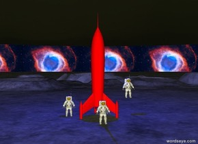 An astronaut is one foot away from a red rocket.  Another astronaut is five feet in front of the red rocket.  Another astronaut is two feet to the right of the red rocket and five feet above the ground.  The background is [helix].  It is evening.  There is a blue light one foot above the red rocket.