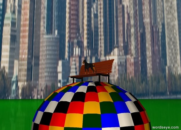 Input text: The dog is on the big bench. The bench is on top of a hot air balloon. The ground is green. The dog is facing left. The sky is New York.