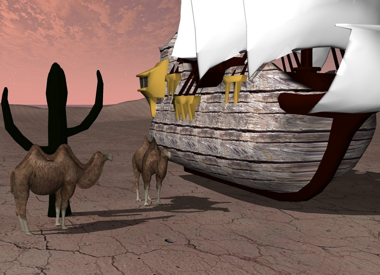 Input text: The small wooden ship is on the dirt mountain range.    The first small camel is next to the ship.  A first cactus is a couple feet to the left of the camel.  There is a second small camel in front of the first cactus.  It faces the ship.   It is afternoon.