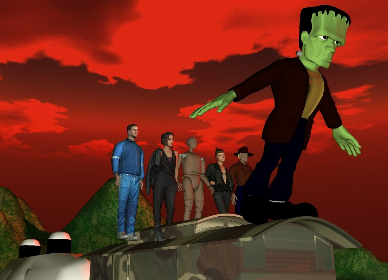 Input text: the 5 people are on the train. they are facing backwards. the camouflage texture is on the train. it is 10 feet wide. it is dusk. the sun is red. the monster is 4 feet behind the people. it is facing backwards. it is tilting forward. a second train is in front of the train.