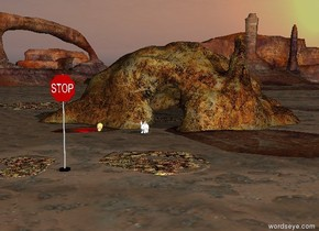 the big bunny is in front of the cave. it is morning. the stop sign is 20 feet in front of the cave. the skull 5 feet away from the rabbit. the red puddle is next to the skull.