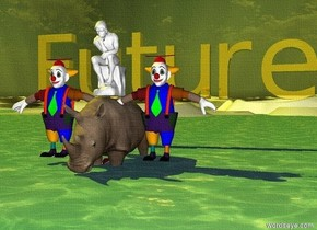 "The rhino is in the ocean.  The sun is yellow. The sky is very pale blue.  There is a ballerina on top of the rhino.  Balloons are in the sky close to the rhino.  On both sides of the rhino are clowns.  Ten feet behind the ballerina is the very large golden ""Future"""