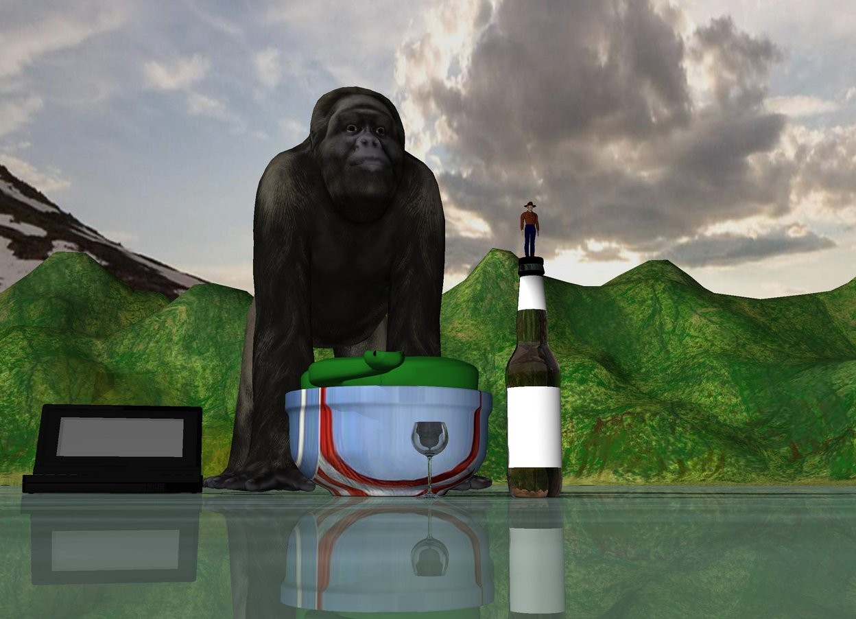 Input text: The snake is on a giant american bowl.  A glass is 0.5 feet in front of the bowl.  A big bottle is 0.5 feet right of the glass.  An extremely tiny cowboy is on the bottle.  A gorilla is behind the bowl.  A giant computer is next to the gorilla.