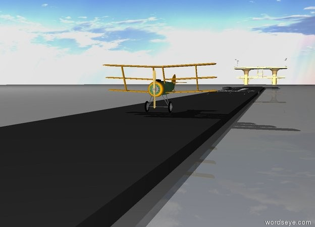 Input text: Big Airplane is on the runway. Extremely big Airport is 500 meter behind the airplane.